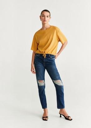 MANGO Adjustable cord t-shirt
