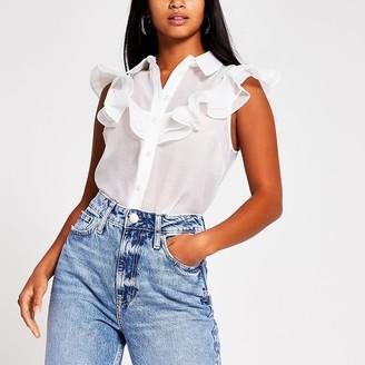River Island Petite white front frill sleeveless shirt