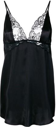 Gilda and Pearl Rita lace-insert babydoll satin slip dress