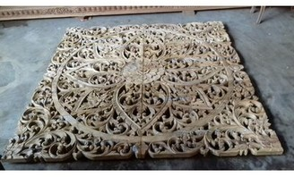 Bungalow Rose Trafalgar Carved Open-Frame Headboard Size: Queen