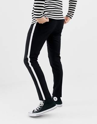 ONLY & SONS smart trousers with satin side stripe-Black