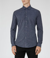Reiss Reiss Bleu - Textured Slim Shirt In Blue