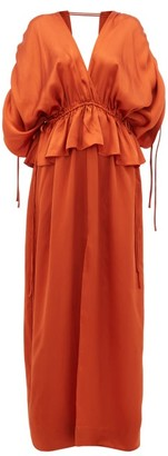 Loup Charmant Athena Open-back Hammered Silk-satin Maxi Dress - Womens - Copper