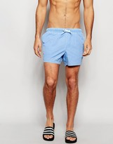 Asos Swim Shorts In Blue With Acid Wash Short Length