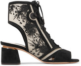Nicholas Kirkwood Phoenix Cutout Embroidered Mesh And Suede Sandals - Black
