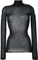 Balmain semi-sheer buttoned shoulder turtleneck