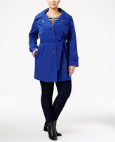 London Fog Plus Size Hooded Double-Collar Trench Coat