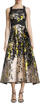 Theia Sleeveless Floral Lace & Satin Cocktail Dress, Black/Yellow