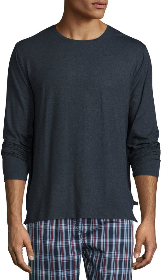 Derek Rose Long-Sleeve Cotton T-Shirt, Charcoal