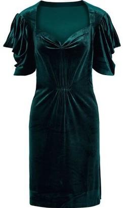 Norma Kamali Pleated Stretch-velvet Mini Dress