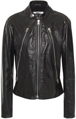 MM6 MAISON MARGIELA Zip-detailed Leather Biker Jacket