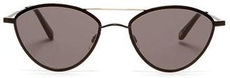 Garrett Leight Breeze 51 Round Metal Sunglasses - Womens - Black