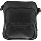 Giorgio Armani Jeans Faux Leather Shoulder Bag Black
