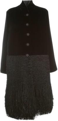 Giorgio Armani Single Breasted Coat High Neck W/fringes