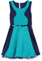 Beautees Aquatic Green Skater Dress - Girls