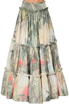 Roberto Cavalli LIGHT JUNGLE PRINT MAXI SKIRT