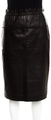 3.1 Phillip Lim Brown Lamb Leather Ruffled Waist Detail Pencil Skirt M