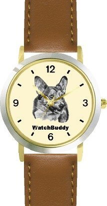 Corgi SC) Dog - WATCHBUDDY® DESIGNER DELUXE TWO-TONE THEME WATCH - Arabic Numbers-SAND & SOIL STYLE - Pale Yellow Dial with Brown Leather Strap-Size-Large ( Men's Size or Jumbo Women's Size )