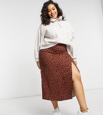 ASOS DESIGN Curve midi skirt with thigh split in tan and black non print