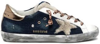 Golden Goose Superstar Sneaker in Denim Blue/Beige/White/Gold
