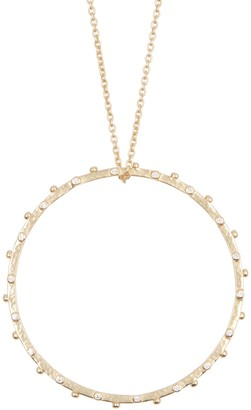Sole Society Large Crystal Circle Statement Pendant Necklace