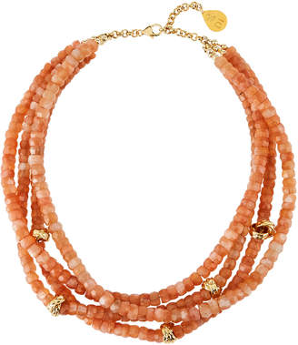 Devon Leigh Moonstone Gold-Accent 4-Strand Necklace, Orange
