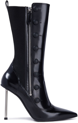 Alexander McQueen Button-embellished Patent-leather Boots