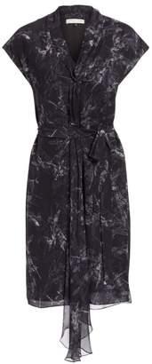 Halston Cap Sleeve Draped Floral Dress