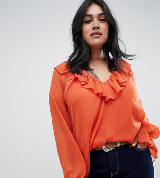 Asos DESIGN Curve sheer long sleeve blouse with ruffle detail and cami-Orange