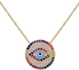 GABIRIELLE JEWELRY 22K Goldplated Multi-Color Cubic Zirconia Evil Eye Pendant Necklace