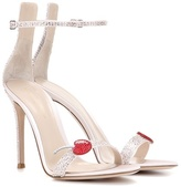 Gianvito Rossi Cherry Portofino Embellished Satin Sandals