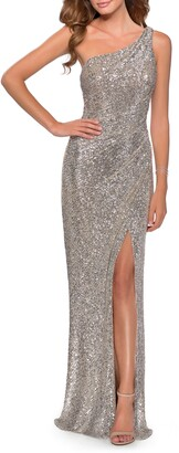 La Femme One-Shoulder Sequin Gown