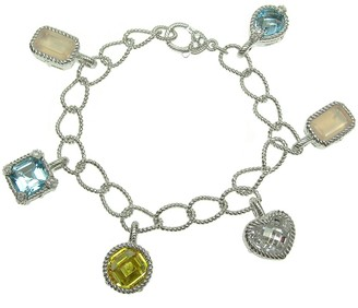 "Judith Ripka Sterling 7-1/4"" Multi-Gemstone Charm Bracelet"