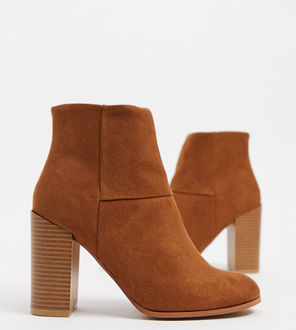 ASOS DESIGN Wide Fit Recite heeled ankle boots in tan
