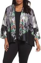 Citron Plus Size Women's Floral Silk Slit Sleeve Jacket
