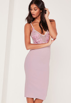 Missguided Applique Mesh Strappy Midi Dress Lilac