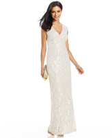 Connected Petite Sequined Lace Gown