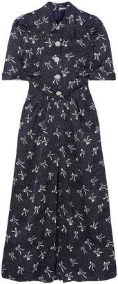 Alessandra Rich Button-embellished Printed Silk-jacquard Maxi Dress