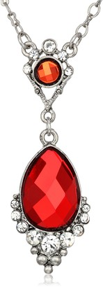 """1928 Jewelry Silver-Tone Red Faceted Stone and Crystal Teardrop Adjustable Pendant Necklace 16"""""""
