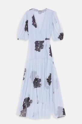 Ganni Mesh Wrap Dress In Heather - 36