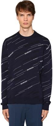 Balenciaga All Over Logo Wool Sweater
