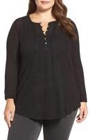 Lucky Brand Plus Size Women's Textured Henley Top