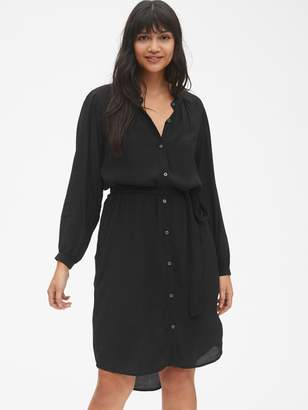 Gap Perfect Long Sleeve Pleated Tie-Waist Shirtdress