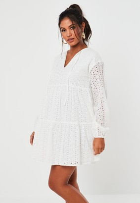Missguided White Broderie Tie Neck Smock Maternity Dress