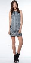 Greylin Detailed Geometric Jewel Neck Dress