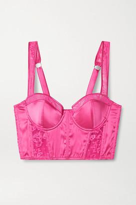 Fleur Du Mal Lace-trimmed Silk-blend Satin Bustier Top - Bright pink