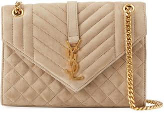 Saint Laurent Triquilt Medium Monogram Suede V Flap Shoulder Bag