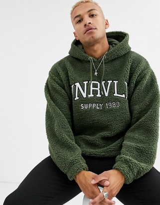 Asos Design DESIGN oversized hoodie in teddy borg with varsity style embroidery in green