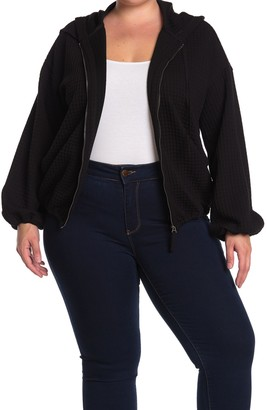 Max Studio Waffle Knit Zip Front Hoodie (Plus Size)