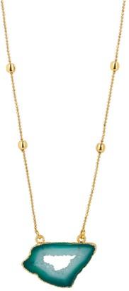 Yaa Yaa London Gold Vermeil Jade Green Agate Crystal Gemstone Necklace